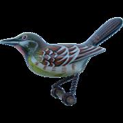 SALE Vintage Takahashi Style  Bird Brooch Pin Hand-Painted Wood