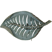 Rare Amerique blue frosted leaf brooch