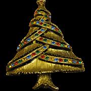 SALE J.J Christmas tree pin open branch colored Rhinestones Book Piece