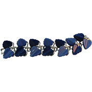 Lisner Moon glow Blue two tone Thermoset Leaf Bracelet