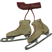 SALE Leather Sonja Henie Ice Skate pin
