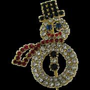 Rhinestone Snow Man Pin