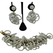 SALE Napier Bracelet and Earring set with white plastic rings and melon balls