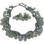 Hattie Carnegie Necklace and Earring set in Opaline and light blue