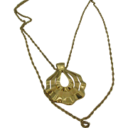 Trifari double chain drop pendent necklace scalloped door knocker