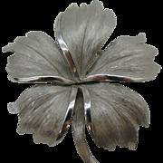 Trifari silver tone flower pin