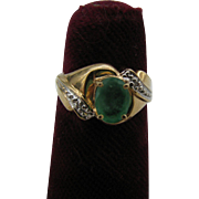 14k Gold and Emerald and diamond ring 4 3/4
