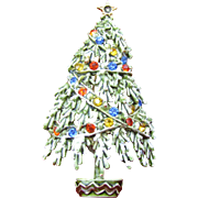 SALE Frosted ART Christmas tree pin