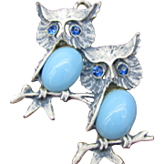 Double OWL pendent in white enamel frosted blue