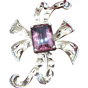 Large REJA Sterling Vermeil Brooch with large purple stone