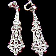 Long drop Art Deco /Art Nouveau Earrings Rhodium Plated Paste