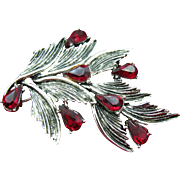 SALE Unique 11 W. 30th ST. ( DODDS ) leaf brooch with ruby red tear drops