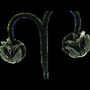 Vintage Botticelli style clip on earrings leaf pattern