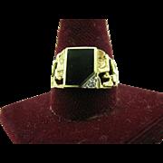 Men's Onyx & Diamond Ring - 10k Yellow & White Gold Size 11 1/2 Genuine .01ctw