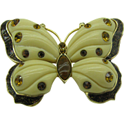 Beautiful Butterfly Brooch done in cream and brown