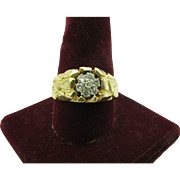 Men's nugget and diamond Cluster ring size 10 3/4