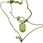 Goldette Victorian Revival Necklace multiple chain with slide and Locket