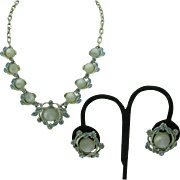 White Moon Glow and pale blue necklace and earring set