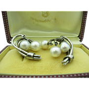 LUMINOUS Signed Mikimoto Akoya Cultured Pearls Sterling Earrings, 40's or 50's