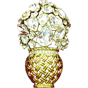 Very large Trifari TM Flower vase brooch with large different shaped crystal rhinestones