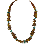 Amber and Turquoises necklace
