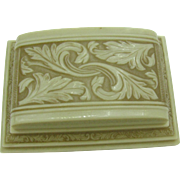 """Celluloid double ring box Wonderful decoration """"Thine-Forever"""""""