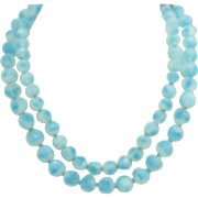 Double strand Givre' glass necklace in beautiful Blues