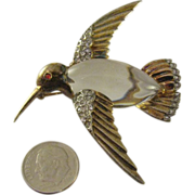 1943 Alfred Philippe designed Trifari Jelly Belly Humming bird brooch (Last Chance Greatly red