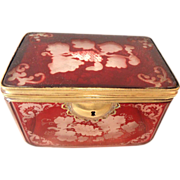 REDUCED Antique Bohemian glass  Hinged box  Ruby Flashed, etched with vine designs lock closur