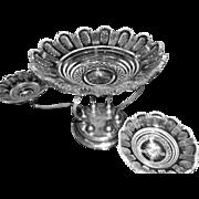 SALE Gorham Sterling Epergne Centerbowl w/ 4 cut crystal bowls