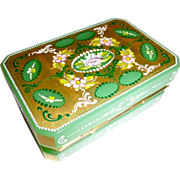 SALE Green Opaline Glass Hinged box,Decorated, gilded and carved