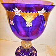 SALE Blue Monumental Size signed Art Glass Urn