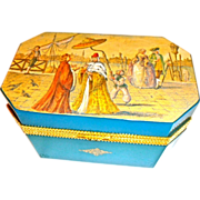 SALE Exceptional Murano Opaline Glass Box Hand Painted Scene  Very Large Size