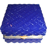 SOLD Antique Blue Opaline glass box , Cut Checker board pattern.