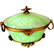 Antique Opaline glass box  green swirl cased to white