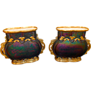 Exquisite Art Nouveau Pr Vases Iridescent and gilded Austrian  Vases