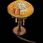 SALE Antique Handel Lamp chipped ice design of trees