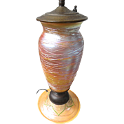 SALE Durand Art Glass Lamp, Pulled Feather, Iridescent Threaded