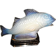 Vintage Sabino Glass Fish Lamp on chrome Base C.1925