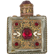 Luminous Red-Jeweled Czech Perfume Bottle