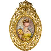 SALE French Miniature Hand Painted Portrait of Empress Josephine