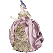 Dressel Kister Porcelain Half Doll Arms Away with Flower, in Silk Dress with Metallic Lace