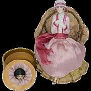 SALE Fasold & Stauch German Half Doll with Legs Away on Powder Box with Powder Puff
