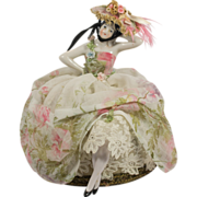 REDUCED Beautiful Half Doll in Floral Dress with Bonnet