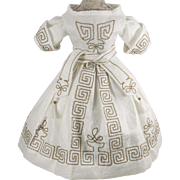Beautiful Embroidered White Dress for Antique French or German Doll