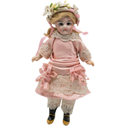 Antique Pink Silk and White Lace Dress with Headband for Antique French Mignonette Doll
