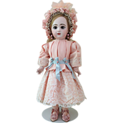 "REDUCED Beautiful Pink Silk Dress with Bonnet for a 19"" French Jumeau Bebe Doll"