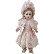 REDUCED Lavish Pink Silk Dress with Jacket and bonnet for a 19' Antique French or ...