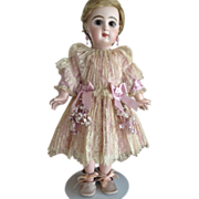"""SOLD Silk Lavender Dress with Pleated Ivory Lace for a 19"""" French Jumeau Doll"""