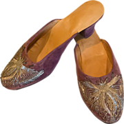 SALE Velvet Embroidered Shoes / Slippers / Mules